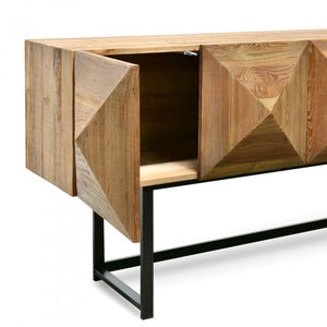 Contemporary Reclaimed Pine Side Cabinet - Black Base - Notbrand