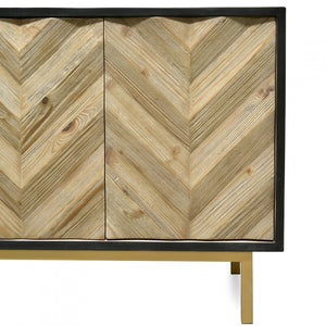 Chevron Reclaimed Sideboard and Buffet - Black - Notbrand