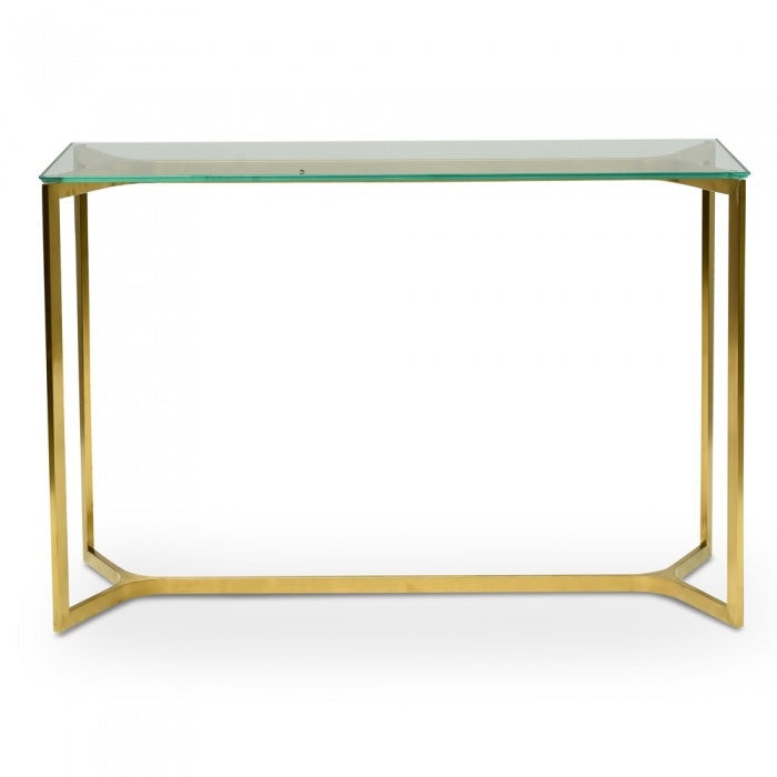 Sandy Glass Console Table - Gold Base 1.2m - Notbrand