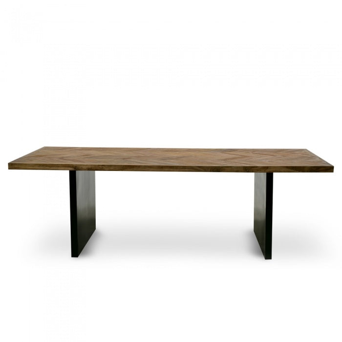 Murphy Reclaimed Elm Dining Table Natural - Black - Notbrand