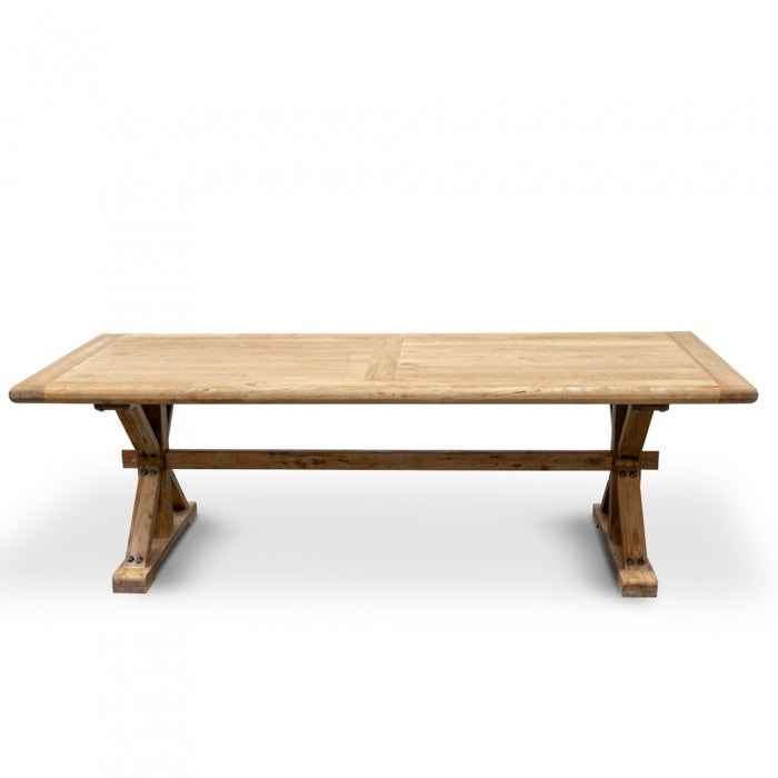 Elena Recycled Elm Wood Dining Table - Rustic Natural 2.4m - Notbrand