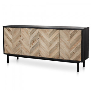Chevron Modern Sideboard and Buffet In Black - Black Base - Notbrand