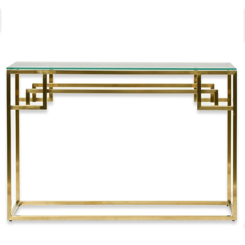Harry Glass Top Console Table - Brushed Gold Base - Notbrand