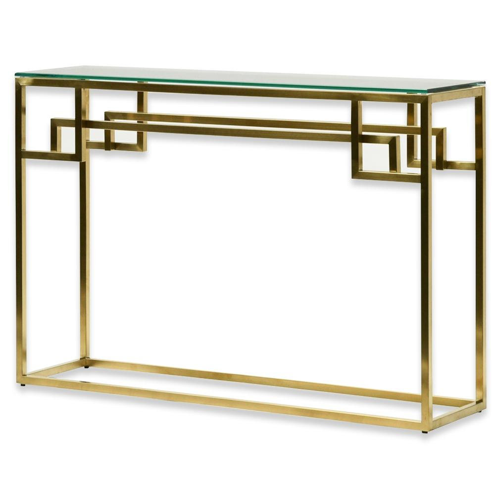 Harry Glass Top Console Table - Brushed Gold Base