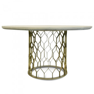 Hemsworth Round Top Concrete Dining Table 1.4m Brass - Grey - Notbrand