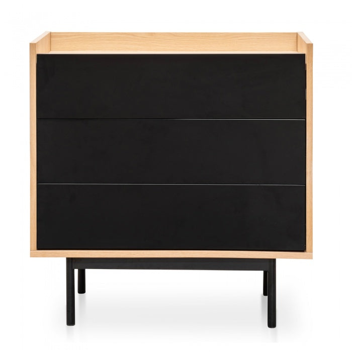 Ferrel 3 Drawer Chest Natural - Black Drawers - Notbrand