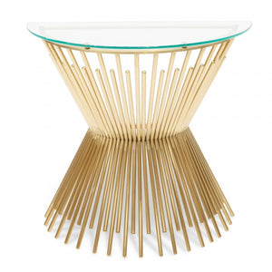 Half Moon Glass Top Console Table - Brushed Gold Base - Notbrand