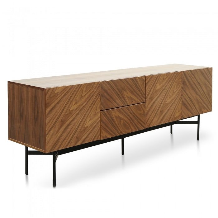 Chelsea Walnut Veneer Timber Sideboard - Black Legs - Notbrand