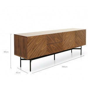 Chelsea Timber Sideboard Walnut Veneer - Black Legs - Notbrand