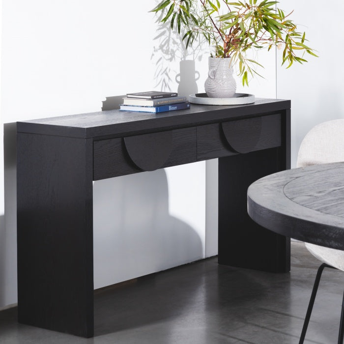 Alethea Console Table - Textured Ebony Black 1.4m