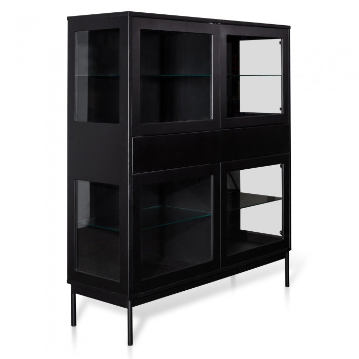 Nora Storage Cupboard Cabinet - Black with Glass Door