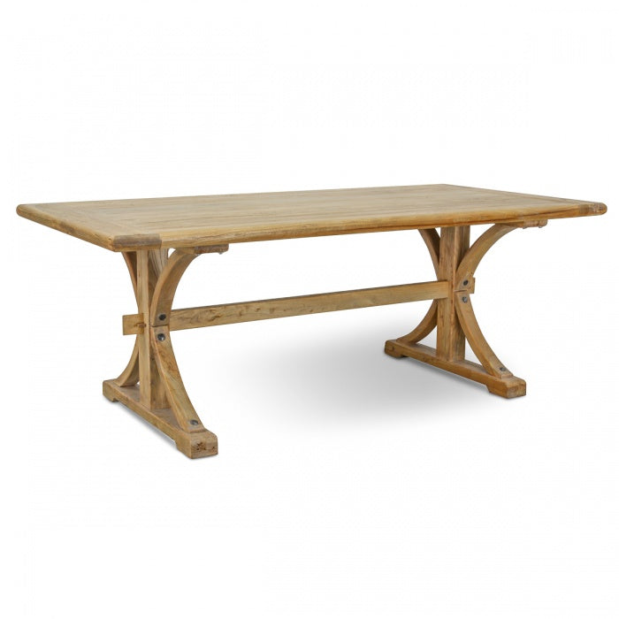 Elena Elm Wood Dining Table 1.98m - Natural Oak Colour - Notbrand