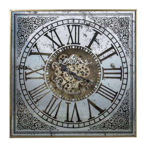 Large Square Mirror Wall Clock Moving 3d Mechanism - Notbrand