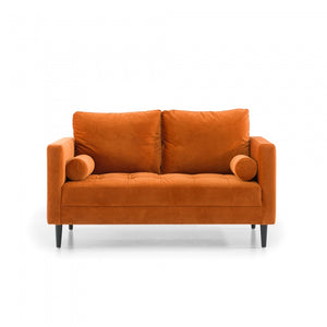 Lily 2 Seater Sofa - Orange Velvet with Black Legs - Notbrand