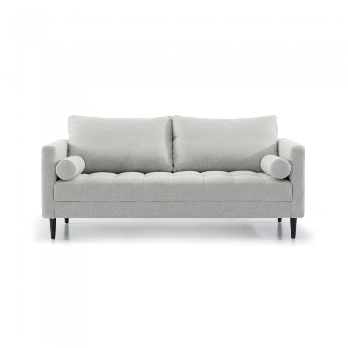 Arden 3 Seater Fabric Sofa - Light Texture Grey with Black Legs - Notbrand