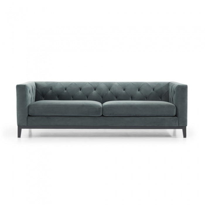 Abigail 3 Seater Sofa - Shadow Grey Velvet Black Base - Notbrand