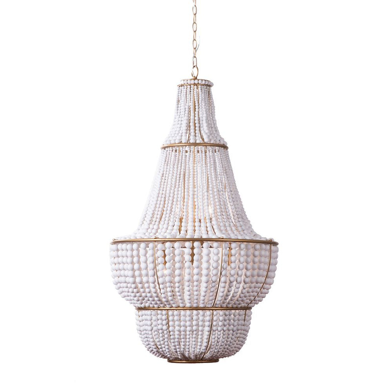 Sierra Wooden Beaded Gold Chandelier - White - Notbrand
