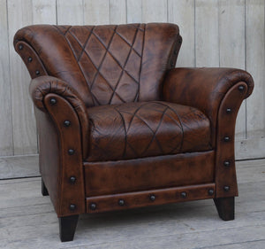 Studded Leather Arm Chair - Notbrand