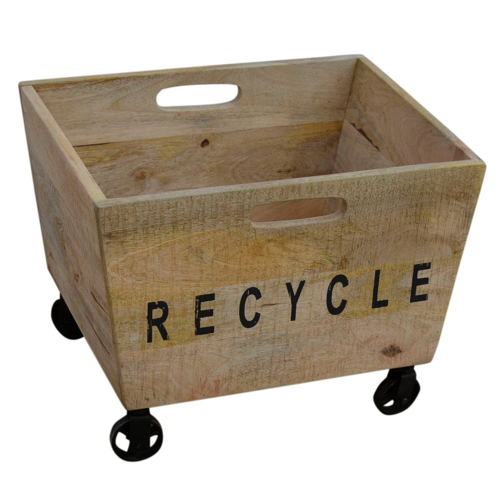 Industrial Mango Wood Basket on Iron Wheels - Notbrand