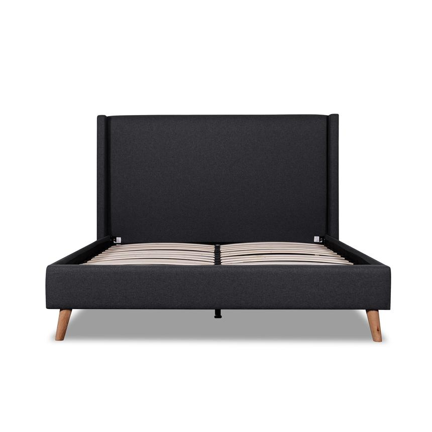 Huella Fossil Grey Fabric Wing King Bed - Notbrand