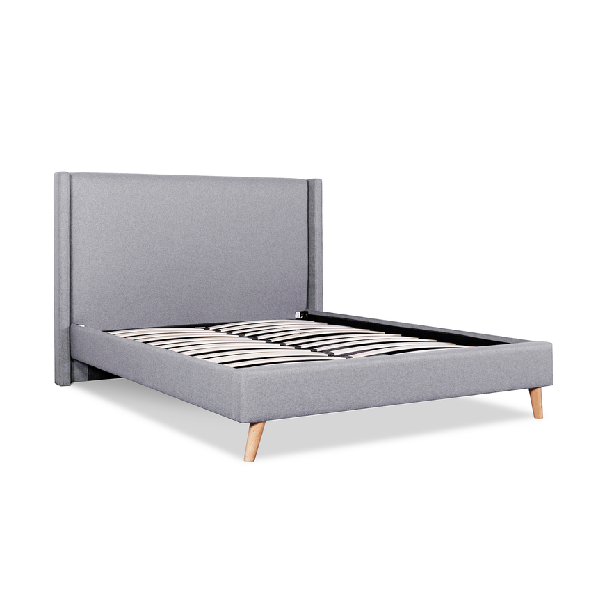 Hoenn Rhino Grey Fabric Wing Queen Bed Frame - Natural Legs - Notbrand