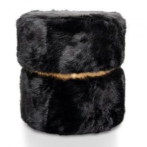 Jessica Black Fur Ottoman / Side Table - Notbrand
