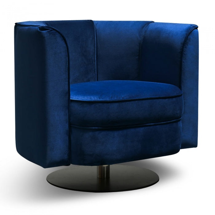 Gia Armchair - Blue Velvet - Black Base - Notbrand