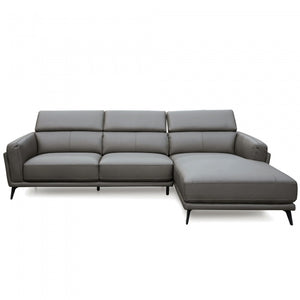 Dimitri 3 Seater Righ Chaise Sofa - Dark Grey Leather - Notbrand