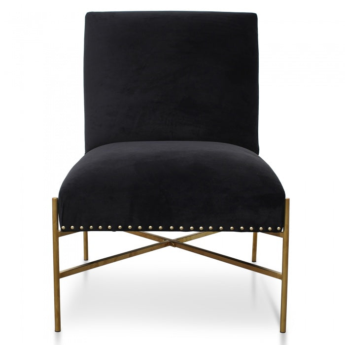 Molly Lounge Chair In Black Velvet - Brushed Gold Base - Notbrand
