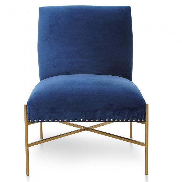 Molly Lounge Chair In Blue Velvet Seat - Brushed Gold Base - Notbrand