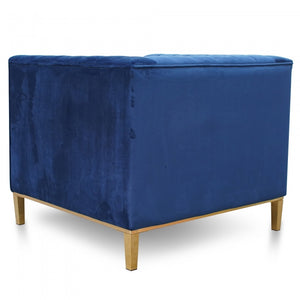 Maison Arm Chair in Blue Velvet - Brushed Gold Base - Notbrand