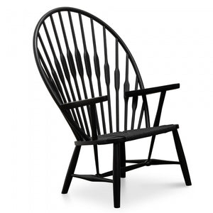 Peacock Rattan Lounge Chair - Black - Notbrand
