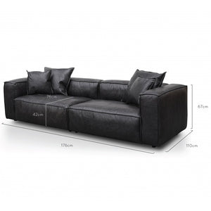 Manhattan 3 Seater Sofa - Charcoal Leather - Notbrand