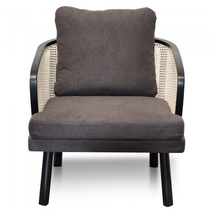 Armchair - Smoke brown Fabric seat with Natural Rattan