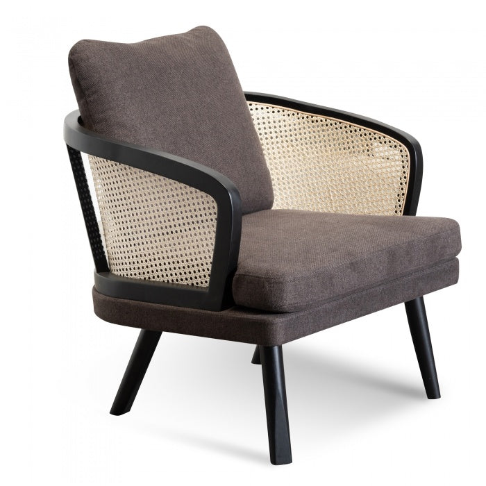 Tadeo Armchair - Smoke brown Fabric seat with Natural Rattan