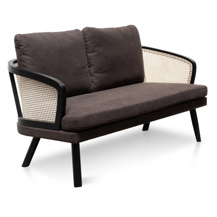 Tadeo 2 Seater Sofa - Smoke Brown Cushion - Natural Rattan