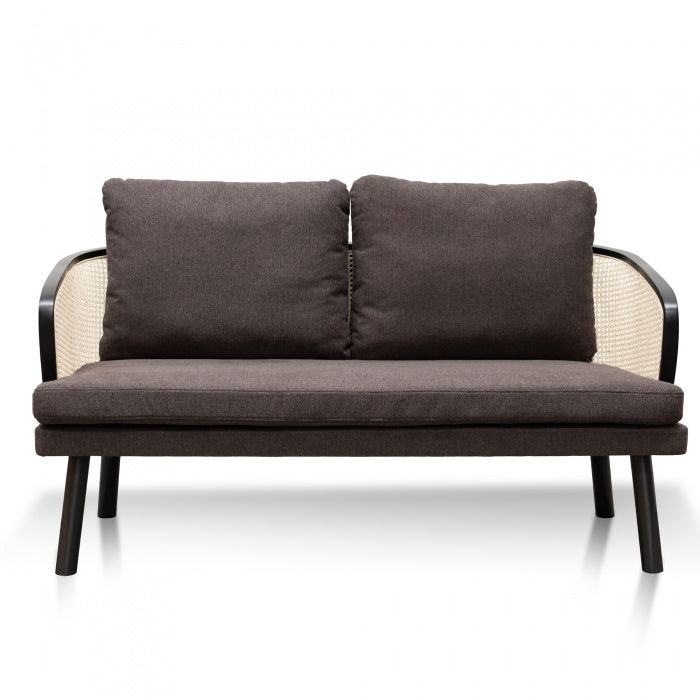 Tadeo 2 Seater Sofa - Smoke Brown Cushion - Natural Rattan - Notbrand