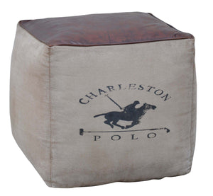 Charleston Polo Leather Top Square Ottoman - Notbrand