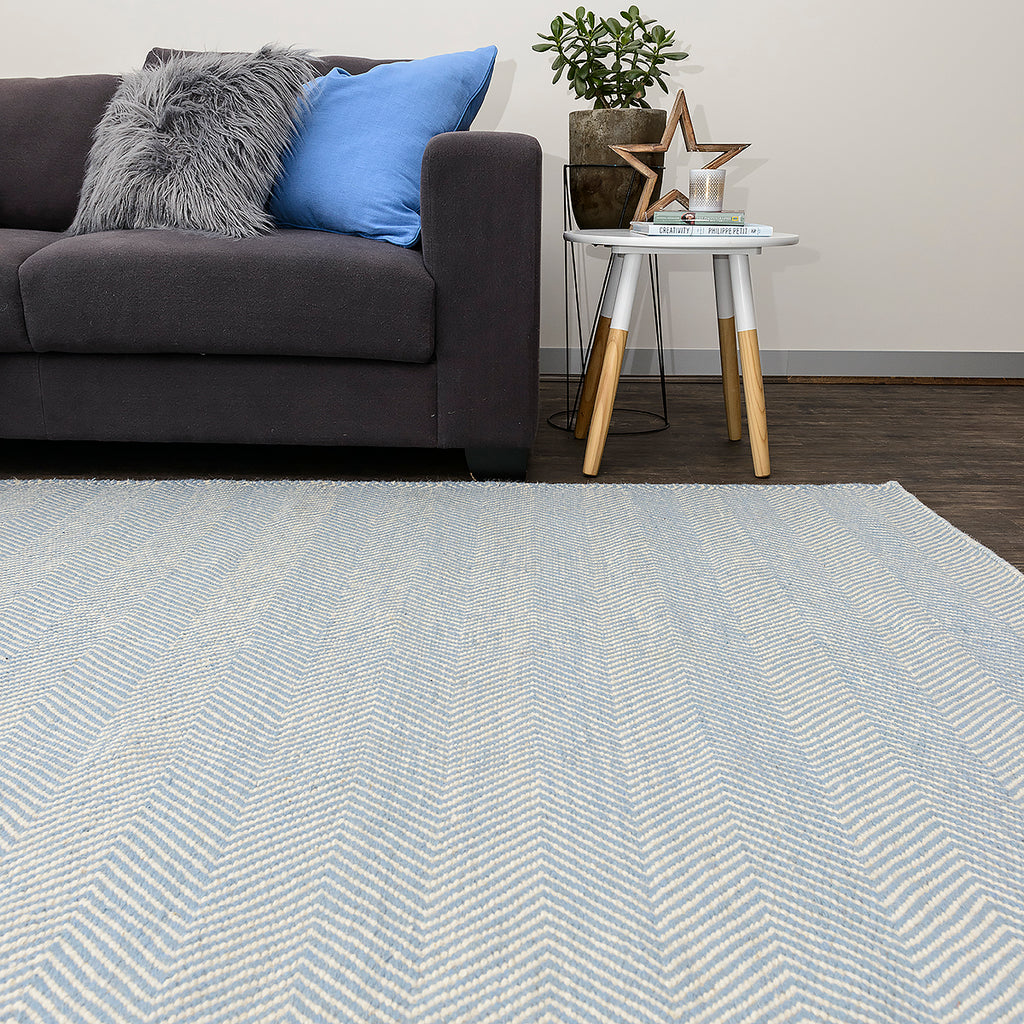 Blue Marrakesh Chevron Wool Kilim Rug