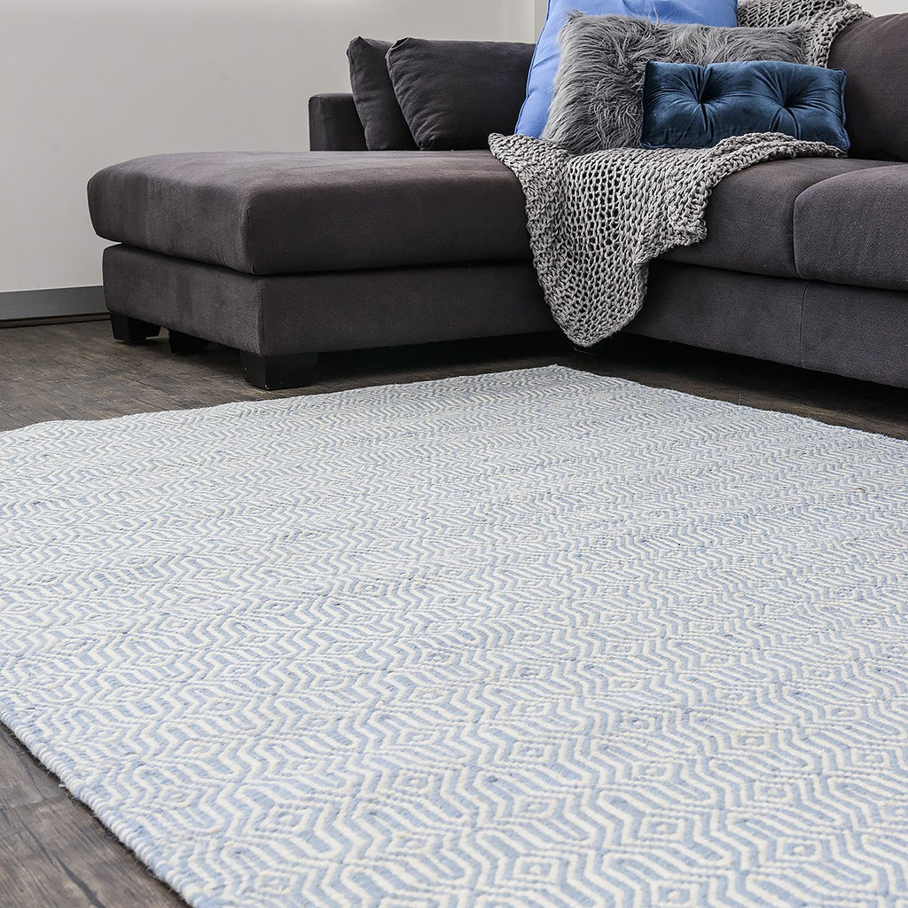 Blue Marrakesh Eye Wool Kilim Rug