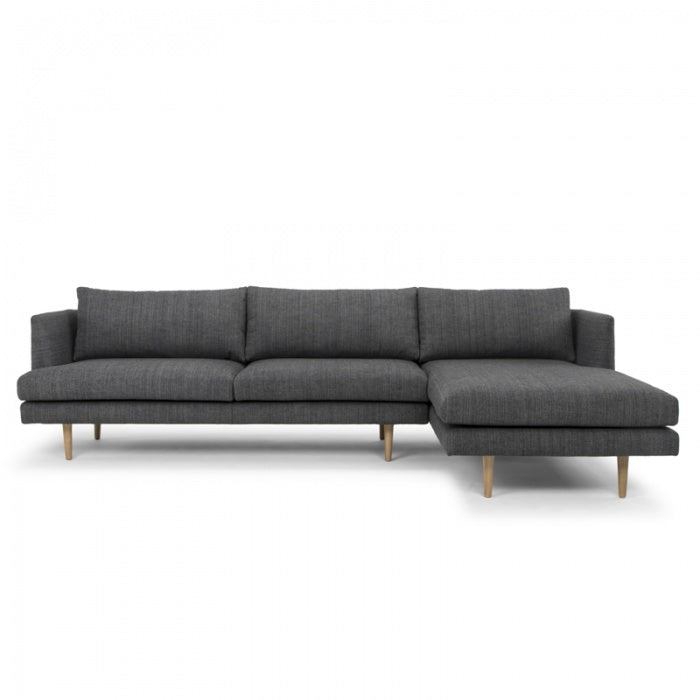 Kylar 3 Seater Right Chaise Sofa - Metal Grey - Notbrand