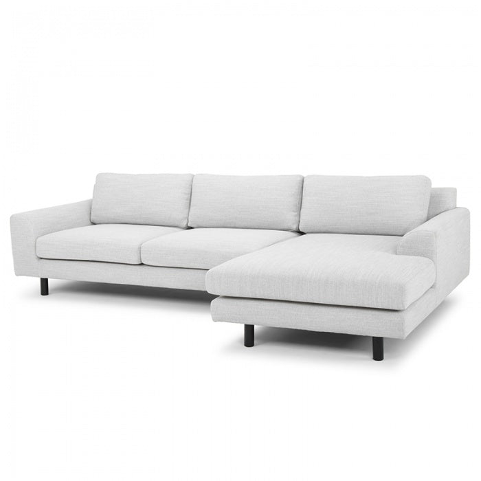 Frankie 3 Seater Right Chaise Sofa - Light Texture Grey - Black legs - Notbrand