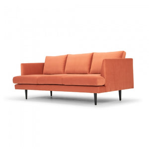Ramona 3 Seater Sofa - Dusty Orange with Black Legs - Notbrand