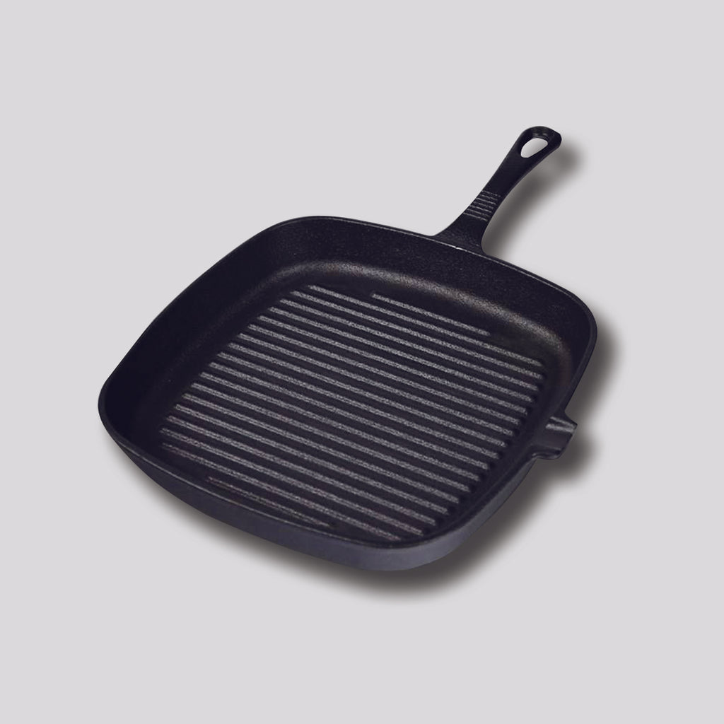 Square Ribbed Cast Iron Frying Pan - 23.5cm - Notbrand