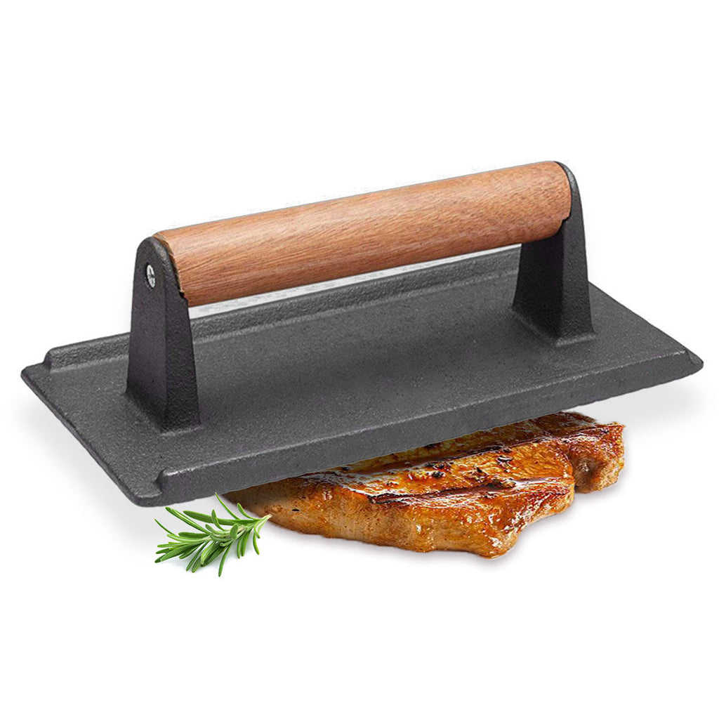 Cast Iron Meat Press with Wooden Handle - Notbrand