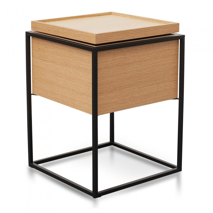 Troy Scandinavian Side Table In Oak - Black Frame - Notbrand
