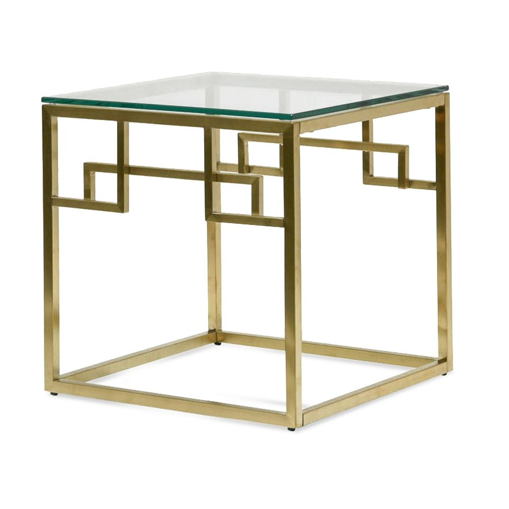 Harry Glass Top Side Table - Brushed Gold Base - Notbrand