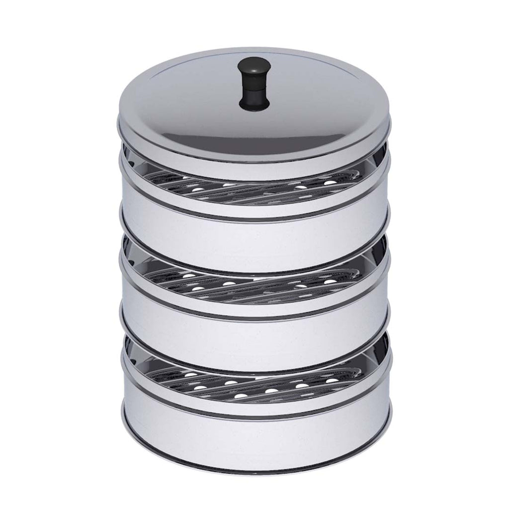 3 Tier Stainless Steel Steamers With Lid - 28cm - Notbrand