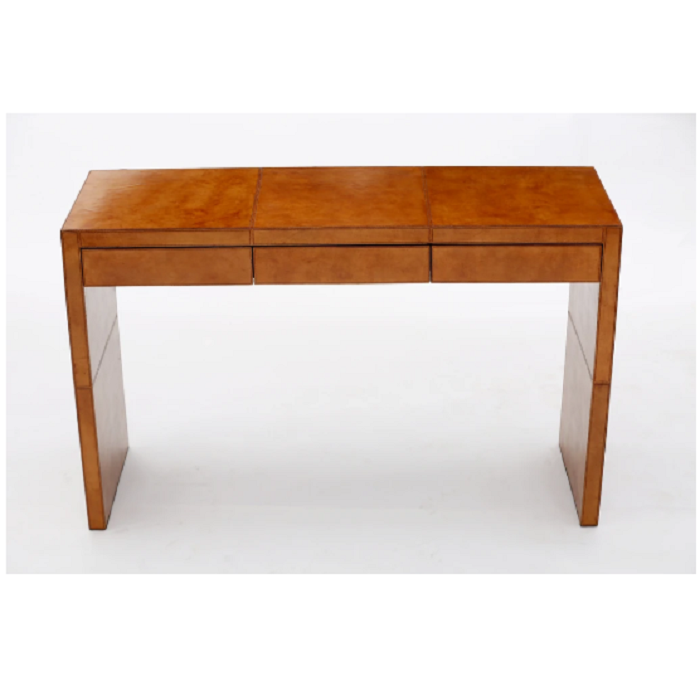 Tan Leather Console Table