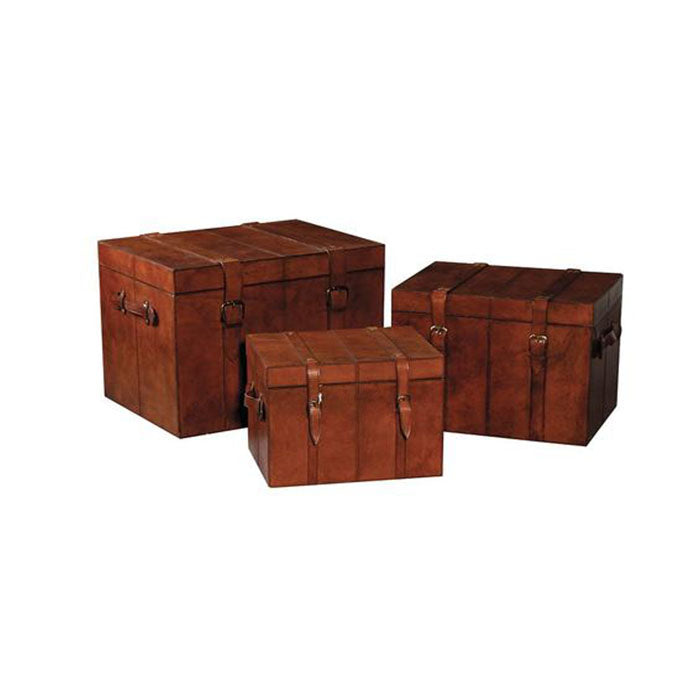 Odyssey Set of 3 Tan Leather Trunks / Boxes - Notbrand